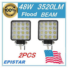 2PCS FLOOD 48W Square LED WORK LIGHT OFFROAD UTE 4WD SUV Driving TRUCK FOG LAMP