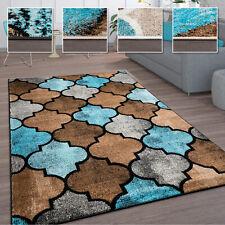 Teppich Wohnzimmer Vintage Kurzflor Marokkanische Muster Raute Türkis Braun