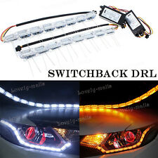 2x 16 LED Switchback Flexible DRL Strip Light Crystal Amber Turn Signal For Benz