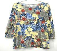 CJ Banks Womens Scoop Neck Long Sleeve Beaded Floral Print Cotton Shirt XL