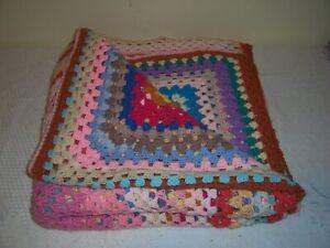 Vintage Crochet Blanket Throw Multicolour 80 ins x 76 ins retro 99p no res