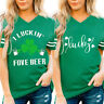 Womens ST. Patrick's Day Green V-Neck Short SleeveTank Tops T-Shirt Blouse  WL