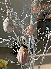 Vintage Easter Regal Royal Velvet & Embroidered Eggs Beautiful Pastel Decor #240