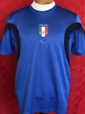 Italy Puma soccer futbol blue Jersey Italia Medium gold sewn Patch World Cup