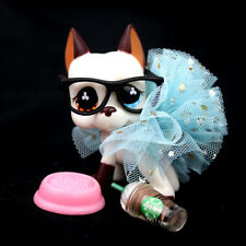 Littlest Pet Shop Great Dane Dog Accessories glasses Blue Skirt LPS #577