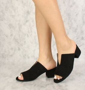 Sexy Black Slip On Open Toe Chunky Heels Faux Suede Party Dress Shoes Size 9