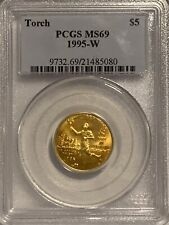 1995-W $5 GOLD TORCH COMMEMORATIVE MS-69 PCGS