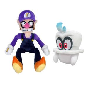 2pcs Super Mario Bros Waluigi and Odyssey Cappy Plush Doll Stuffed Soft Toy Gift