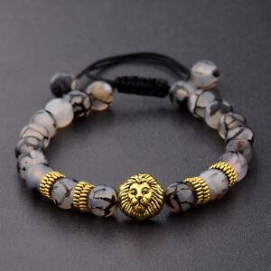 Men's Black Lava Stone Gold Lion Beaded Charm Bracelet Cheapest Macrame Bracelet