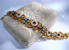 Vintage Florenza Faux Pearl Rhinestone Turquoise Beaded Gold Tone Link Bracelet