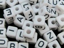 50 Pcs - 10mm Random Letter Mix White Cube Alphabet Letter Beads Kids Beads S185