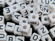 50 Pcs - 10mm Random Letter Mix White Cube Alphabet Letter Beads Kids Beads S185
