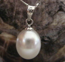 10mm - 12mm WHITE DROP PENDANT FRESHWATER PEARL 925 Silver