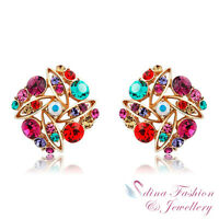 18K Rose Gold Plated Made With Swarovski Crystal  Colorful Cluster Stud Earrings