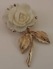 Vintage Molded Plastic White Rose Flower Gold tone Brooch Rhinestone Pin  A 79