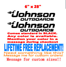 """Pair of 6"""" x 28"""" Johnson boat hull decals. Marine Grade your color choice"""