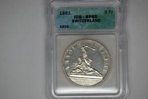 Switzerland: 1861 5 Francs- ICG SP-60.  X#S6.  Extremely Rare.