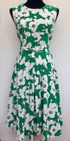 BNWT Rrp £179 New Hobbs Floral Fit N Flare Tie Waist Green White Midi Dress 14