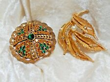 Gold and Green Vintage Costume Jewerly Brooches  Lot of two