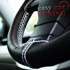 FOR FORD MONDEO MK4 07-14 BLACK GENUINE LEATHER WHITE STEERING WHEEL COVER NEW