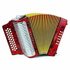 Hohner Button Accordion Corona II Classic FBbEb, With Gig Bag, Straps, Red