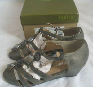 "Pewter leather 2"" wedge heel sandal shoes HOTTER COMFORT CONCEPT UK 3"