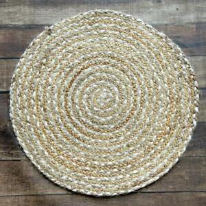Round Rug 100% Natural Jute Area Floor Mat Carpet Living Room Bohemian Rag Rug