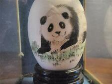 CHINESE PAINTED EGG - PANDA IN A GLASS CASE