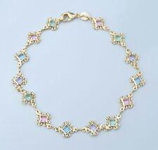 Gold Filled Ankle Bracelet 10 inch Long Filigree Design Multi-Color Stones