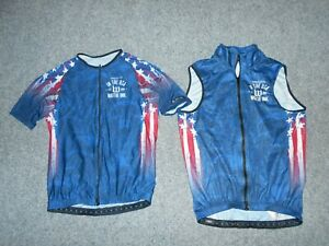 WATTIE INK GENUINE! MENS MEDIUM USA FLAG THEMED CYCLING JERSEY & VEST         Z2