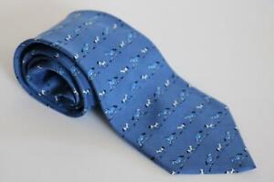 HERMES blue horses vintage logo silk tie 7894 MA excellent condition ref GC