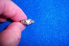 Vintage Sterling Silver Children's Ring, Heart, Flower