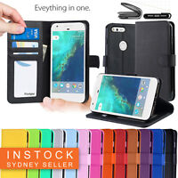 New Leather Wallet Case Cover For Telstra Google Pixel XL + Screen Protector