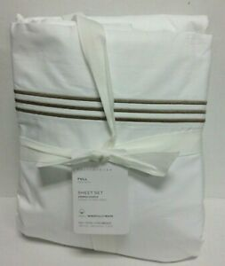 New Pottery Barn Grand Organic Percale Sheet Set FULL Size Bed Bedding taupe
