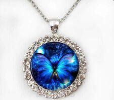 Damen Halskette Anhänger Strass Silber Blau Schmetterling Cabochon Geschenk