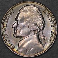 1946 Jefferson Nickel 5C - Gem Uncirculated - Colorful Toning