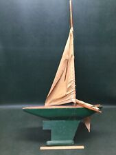 "Antique Wooden Pond Model Yacht Sail Boat Sailboat Ship 44""H ~ As Is"