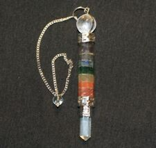 7 Chakra Pendulum Wand Crystal Point and Sphere 5191