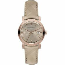 Burberry Women's The Classic Rose Gold Tone Trench Check Leather Watch BU9154
