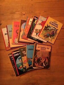 """Lot de 13 anciens albums Tintin (1/2) - dont Tintin au Tibet eo """"redoutable"""""""