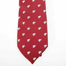 Vintage Alynn Neckwear Mens Red with White Elephant Print Tie Polyester Used