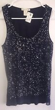 NEW Gold Hawk Hollywood Top Tank Sequin Military Blue Small S NWT $180