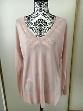 H&M Light Pink V Neck Sweater Sz L