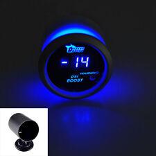 """2"""" 52mm Black Cover Car Auto Digital Blue LED PSI Turbo Boost LED Gauge Kit Pod"""