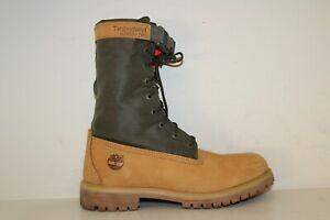 """Timberland 6"""" Premium Gaiter Boot Size 10 Mixed Media Wheat Green Waterproof"""