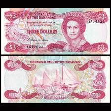 Bahamas 3 Dollars, 1974(1984), P-44, UNC
