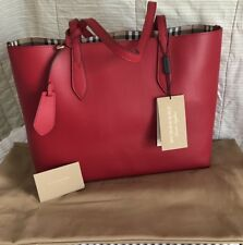 Brand New Burberry Medium Reversible Tote in Haymarket Check and Leather