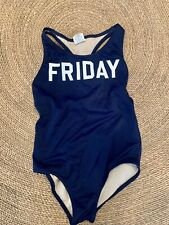 Crewcute girls blue bathing suit Friday print
