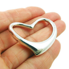 Large Hallmarked Solid 925 Sterling Silver Love Heart Pendant Gift Boxed