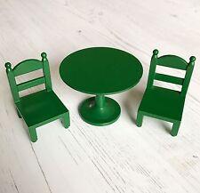 Vintage Sylvanian Families vert Meubles | Réglable Table ronde et chaises